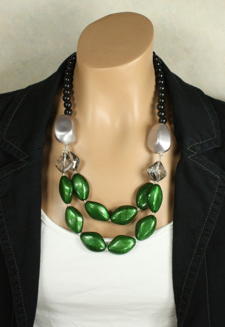 Big Peacock Green Beaded Statement Necklace by EclecticOrnaments