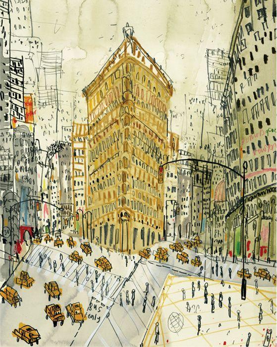 clare caulfield The Flatiron Building, New York   canvas print   20 x 25 cm