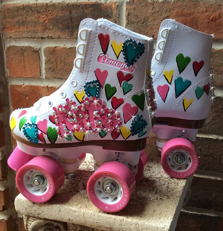 Custom Painted Adult Roller Skates, OldSkool, Hearts, Colorful Rainbow, Personalizatios, Name, Crystal Bling, Gift for Young Girl, Teen by DreaminBohemian on Etsy