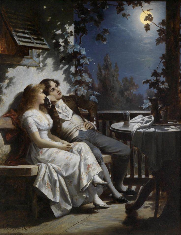 """monsieurleprince: """"Carl Schweninger Jr (1854 – 1903) - Couple in the Moonlight """""""