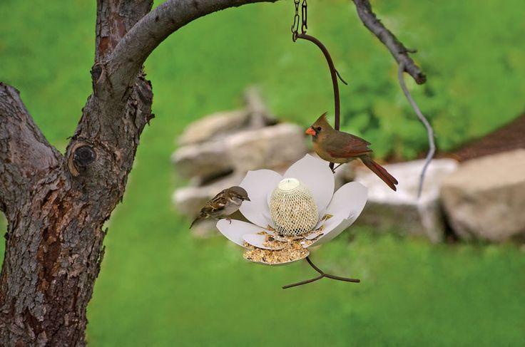 Magnolia Hanging Bird Feeder - Metal Bird Feeders - Decorative Bird Feeder