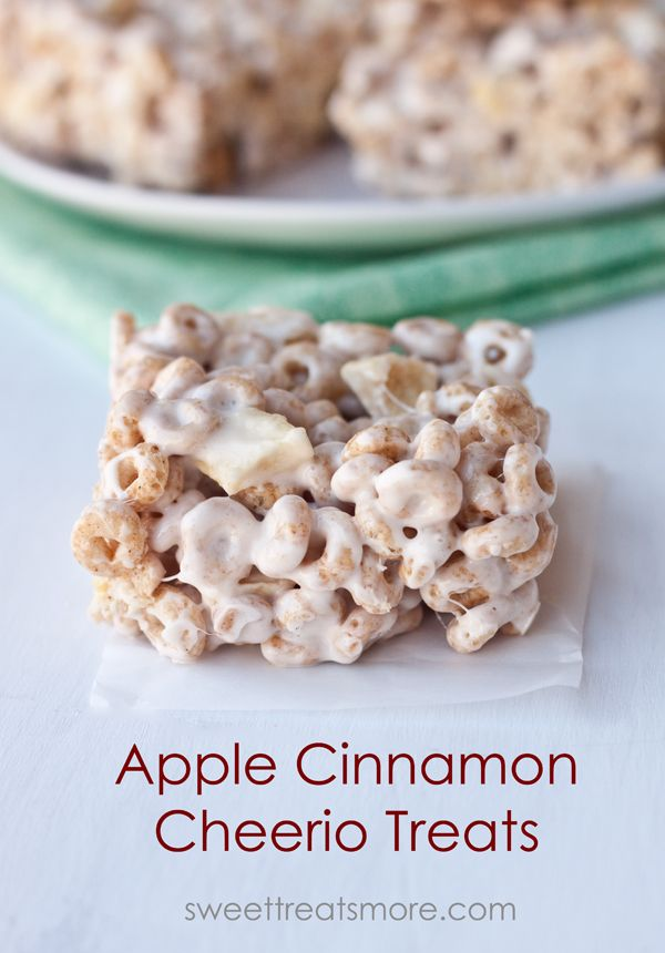 Apple Cinnamon Cheerio Treats from @Kristy Denney - Sweet Treats and More