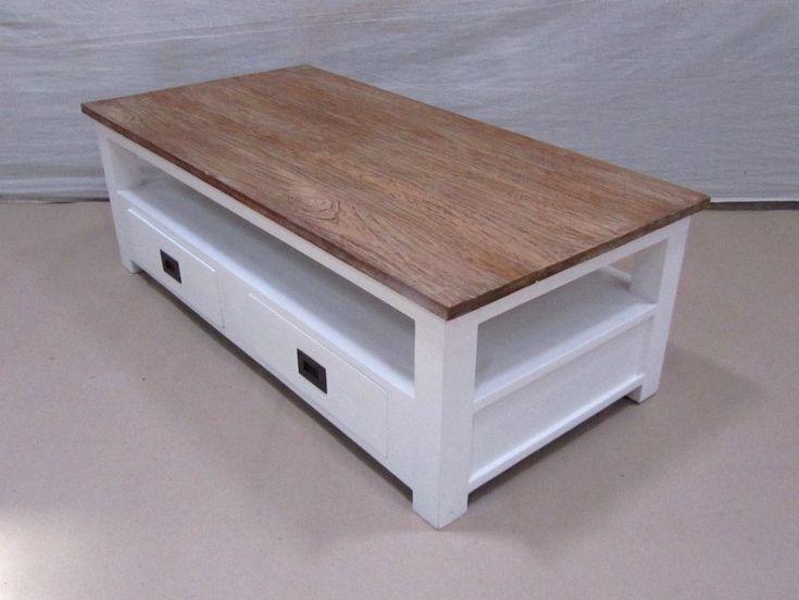 Witte Koloniale Salontafel met 4 laden - Teakhouten Meubelen en Landelijke tafels,kasten en tv-meubels|