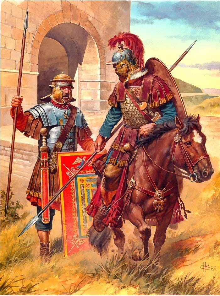 Cavalry officer and legionary soldier, mid- 3 century CE. The foot soldier is drawn using equipment found in archaeological remains from the Siege of Dura Europos in Syria - 256 CE. (Romans vs. Sassanid Persians) Note that the longer spear was now used instead of the previously common pilum (javelin), the longer spatha (sword) replaced the famous gladius, suspended by a wider baldric sling.
