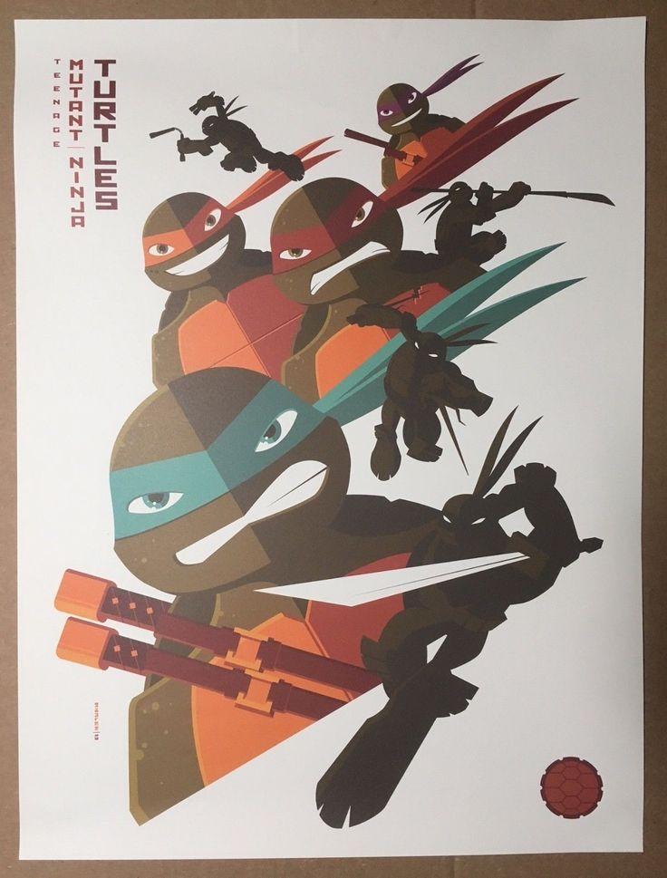 "#art Rare Ltd. Ed. Nickelodeon Poster by Tom Whalen - ""Teenage Mutant Ninja Turtles"" please retweet"