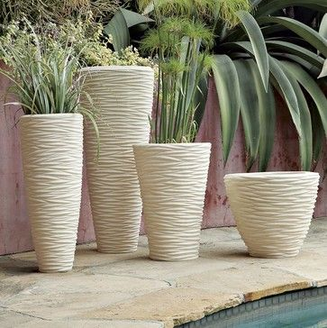 Textured Stone Planters modern-indoor-pots-and-planters