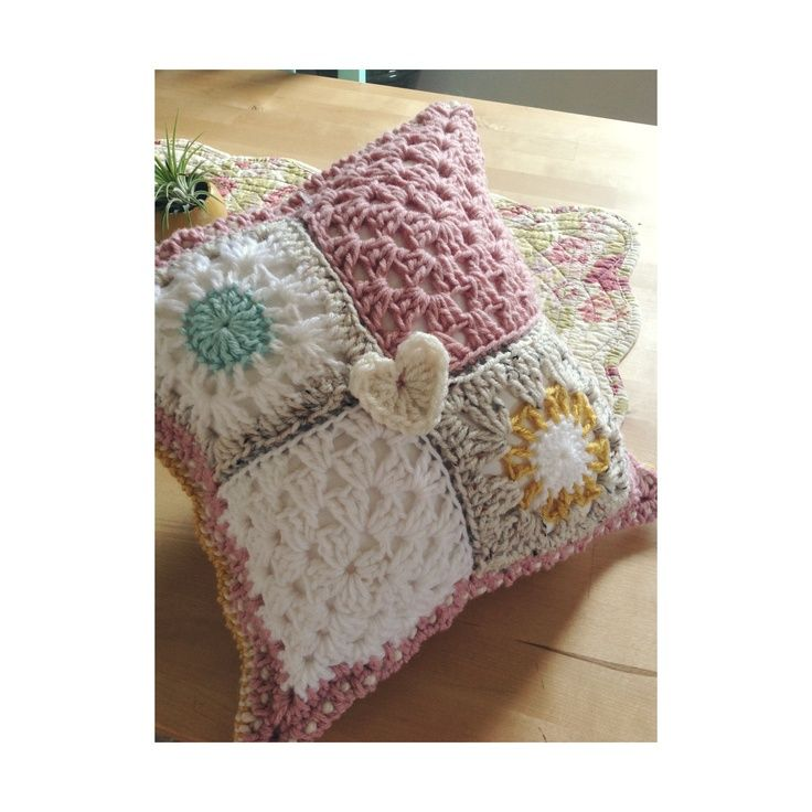 granny square pillow patterns | Granny Square Pillow/ Shabby Chic/ Crochet
