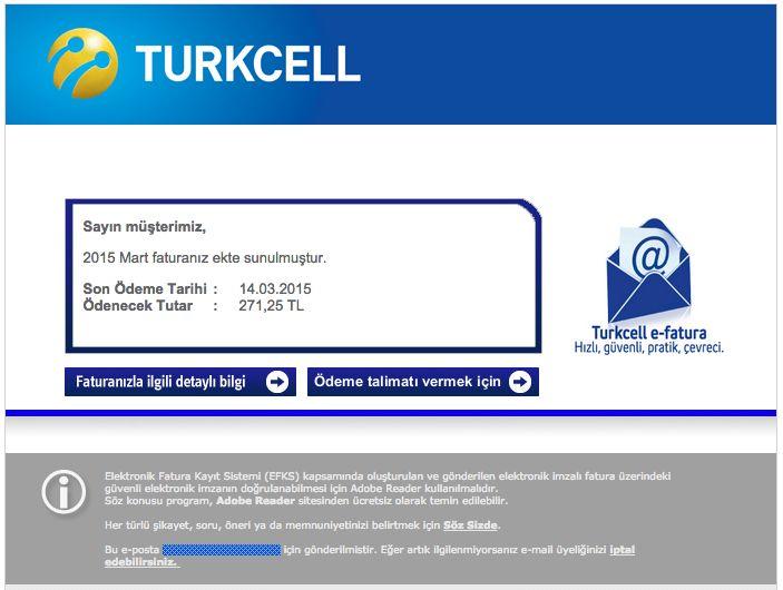 """CryptoLocker sahte Turkcell fatura bildirimleri Uzun zamandır gündemde olan CryptoLocker (Ransomware)'ın yeni sürümü Turkcell fatura bildirimlerini taklit ediyor. Eposta ile gönderilen örnekte olduğu gibi Turkcell fatura bildirimi size rastgele isimlerden geliyor. Örnekte kimden alanında, """"Turkcell Fatura Bildirimi"""" <mesud@turkcell-fatura.org> olarak gözküyor. Yanıtla alanında ise """"Turkcell Fatura Bildirimi"""" <reply@turkcell-fatura.org> gibi bir adres gözküyor. """"Faturanız ile ilgili detaylı…"""