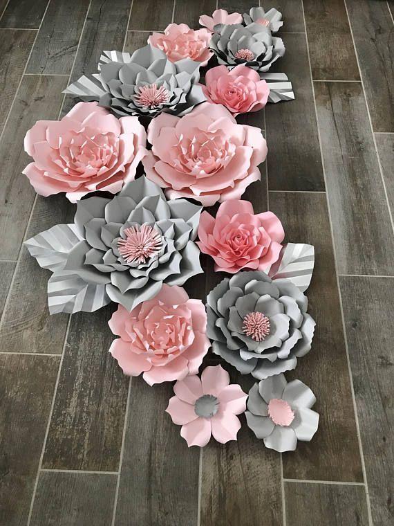 Conjunto Rosa Y Gris De 14 Diy Paper Flowers Paper Flowers