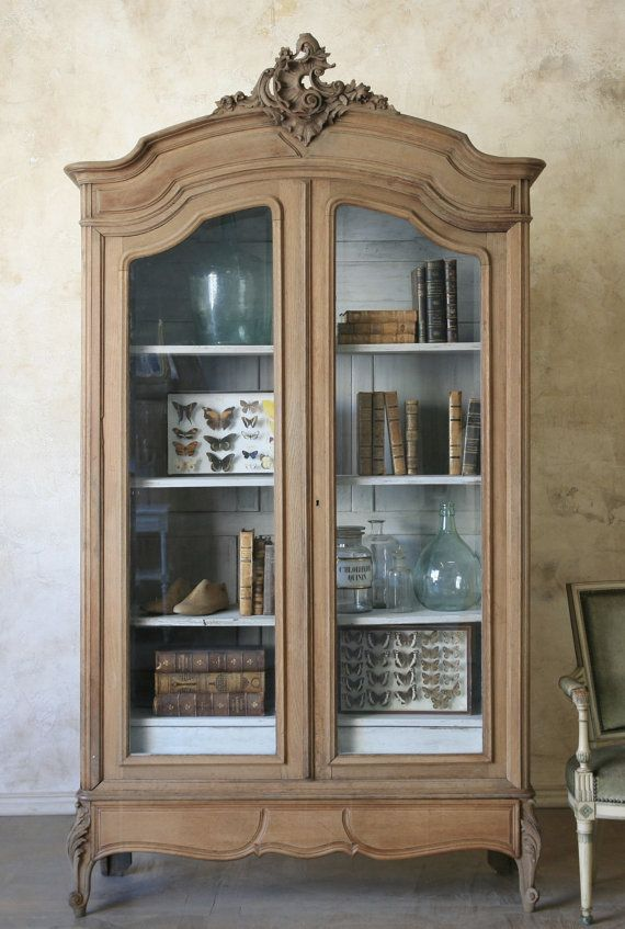 French cabinet with interior painted light blue.