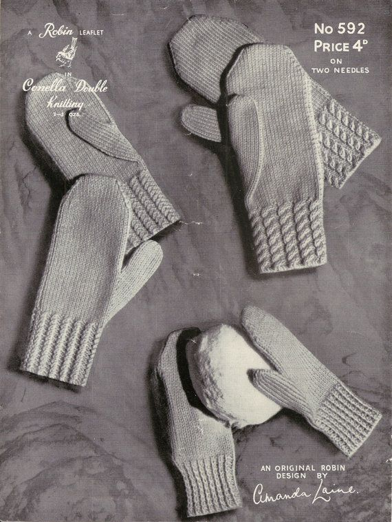 This is a PDF download of an original 1940s knitting Pattern.    Amanda Laine for Robin Mittens pattern.