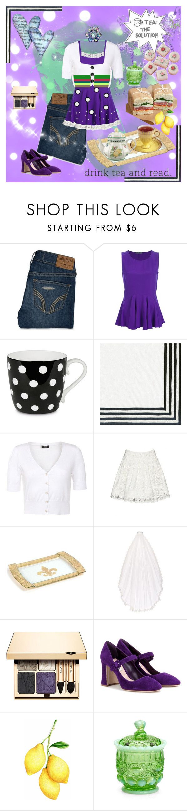 """FOR MY SWEET-TEA"" by kalenalexis ❤ liked on Polyvore featuring Hollister Co., Alexander McQueen, Könitz, Caspari, Alice + Olivia, Nicole Miller, Clarins, Miu Miu, Mosser Glass and Villeroy & Boch"