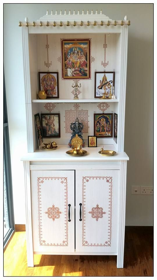 """Chitra from Singapore writes, """"We had a blast creating a customised altar for our Gods. Took us about a week to put it all together and we could not be happier. The kolams were hand drawn with a chrome paint marker (I found that nail varnish remover worked as an excellent """"eraser"""" for mistakes). Wanted to share a picture of our completed altar with you. Hope you get a kick to see how your creation has inspired so many all over the globe! :)"""""""