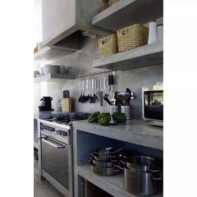 Cozinha em concreto.