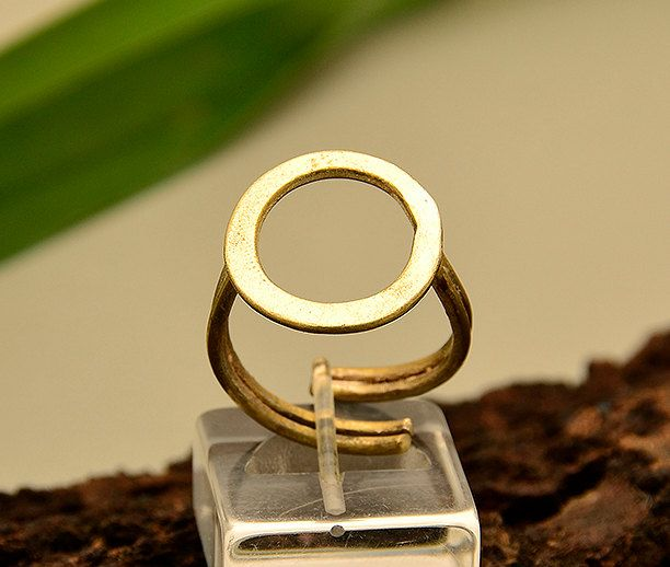 Gold circle ring, pinky finger ring,simple stacking ring, little finger ring, geometric band,gift ring under 20, minimal adjustable ring by ColorLatinoJewelry on Etsy