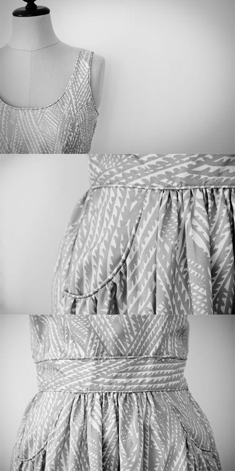 Pattern runway sundress in geometric print. pockets! <3: Runway Sundresses, Patterns Runway, Dress Patterns, Free Patterns I, Fabrics Notions Sewing, Sundresses Patterns, Patterns Coffee, Gathering Sundresses, Sewing Patterns