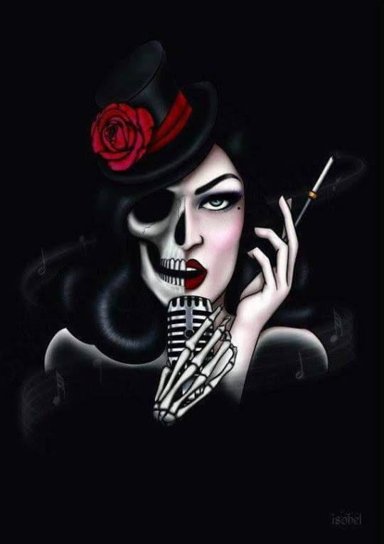 ♫ Levo uma rosa quando vou ao seu axé / Falo com Rosa Caveira / Porque nela eu tenho fé ♫
