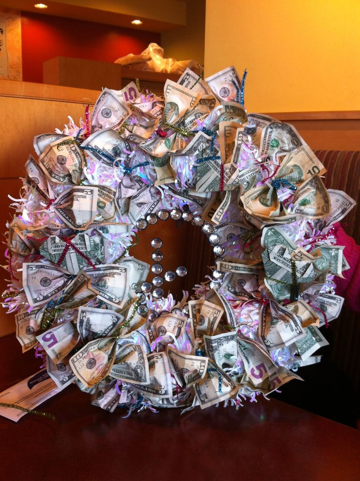 money wreath for wedding gift party ideas decorations