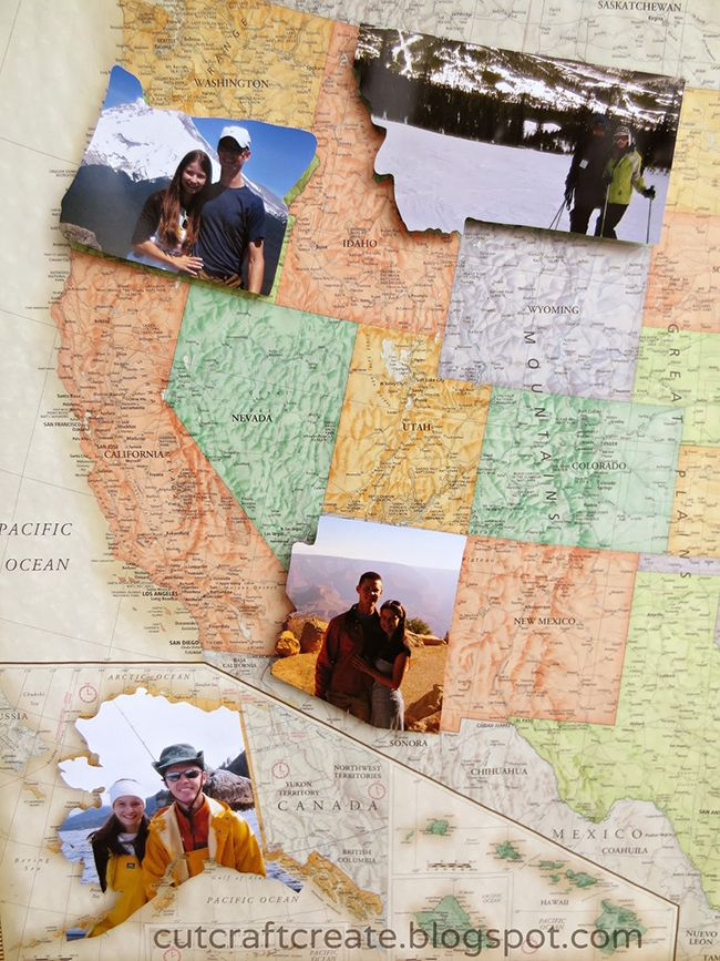 We love this creative DIY. It's a personalized photo map that uses prints cut into the shape of states, laid on top of everywhere you've visited!