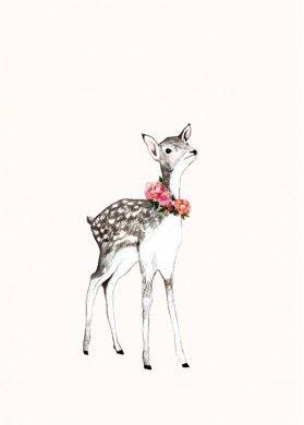 Affiche déco chambre d'Enfant thème nature, forêt, faon - Daniela Dahf