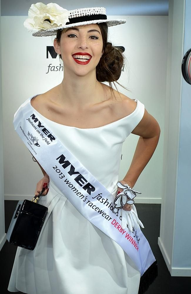 2013 Derby Day, Melbourne Australia. Myer Fashions on the Field contestant and winner Ashleigh Albanese.