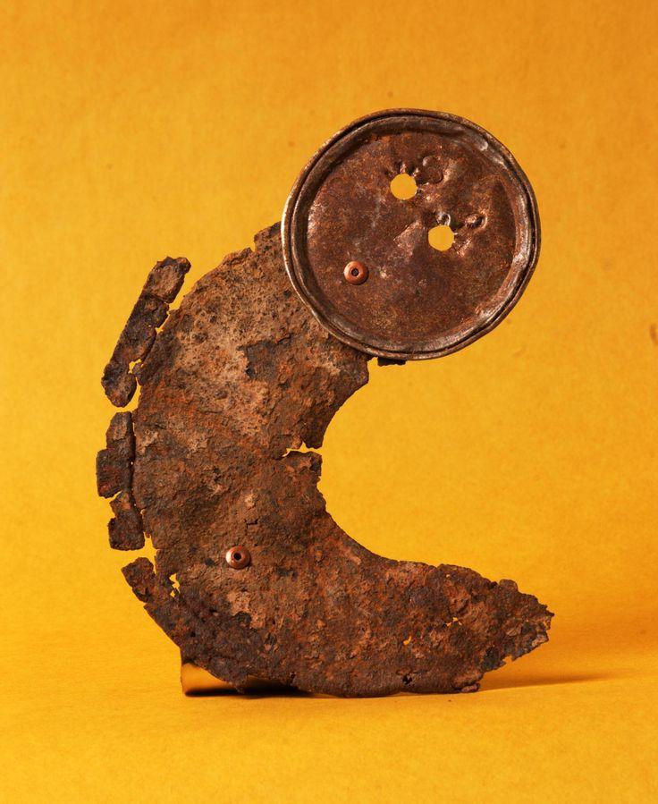 Luna - Recycled riveted metal sculpture created at Copper Lizard Studio