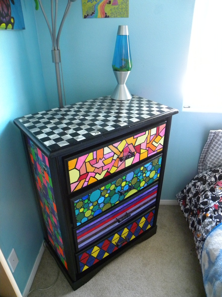 Megan s dresser make over hand painted freehand drawer