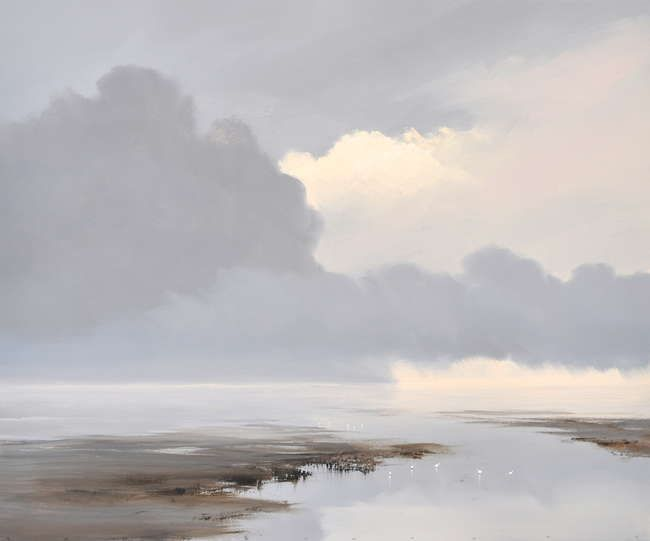 """""""Doorbrekend licht op het wad"""" by Jan Groenhart - Oil"""