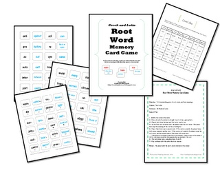 "root word memory card game- the first set of cards that you use at the beginning of the year has visual cues for the students to use in matching.  Before students can turn over their second card they have to say  ""The match   I'm looking for is _____."""