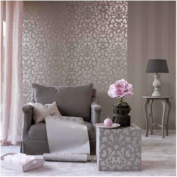 Resultado de imagen para combinar papel vinilico con pintura  pared de dormitorio matrimonial