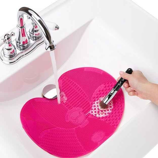 A makeup brush-cleaning mat for your sink ($25).