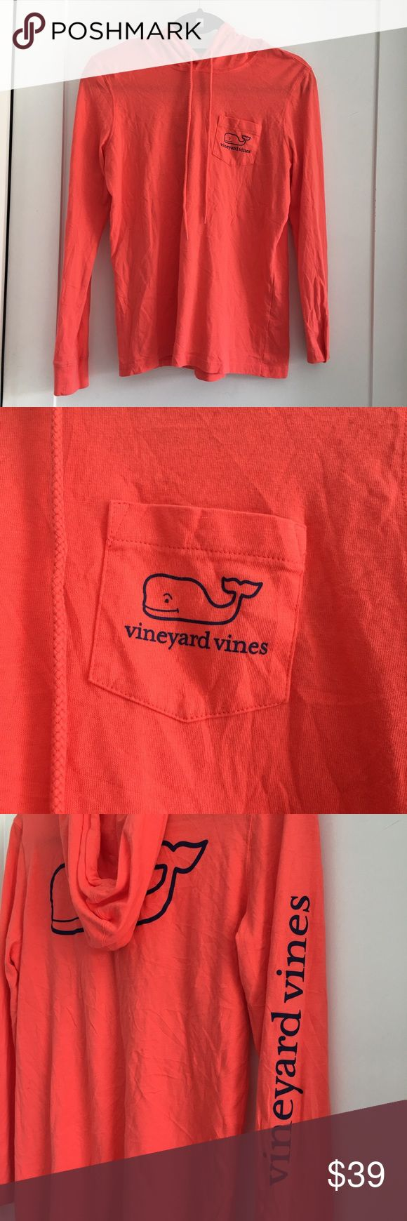 "Vineyard Vines Women's Orange Hooded Shirt size XS Preowned authentic Vineyard Vines Women's Orange Long Sleeve Hooded Shirt size XS. Armpit to armpit is 19"" inches. Excellent used condition. Please look at pictures for better reference. Thank you for looking and happy shopping! Vineyard Vines Tops Tees - Long Sleeve"