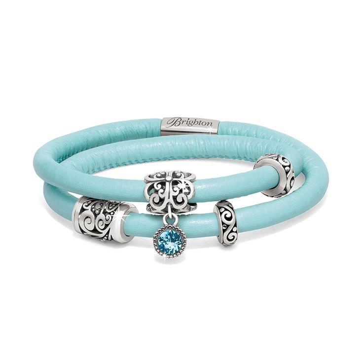 Brighton Woodstock Double Leather Bracelet with the Bijou Blue charm. #BrightonCharms