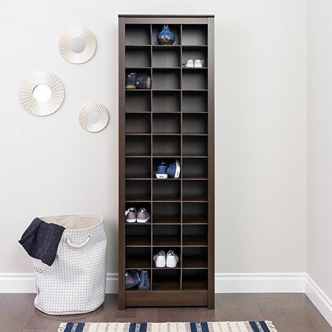 Prepac Eusr 0009 1 Espresso Shoe Storage Cabinet 36 Pair Rack