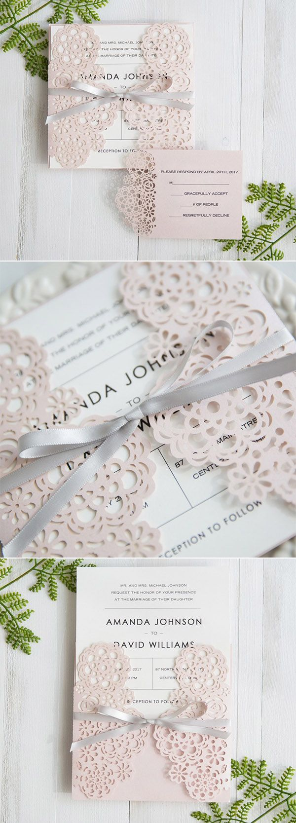 elegant laser cut wedding invitations with blush pink and gray wedding color schemes