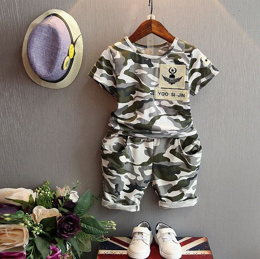 Baby boys girls clothes camouflage sets children short sleeve t-shirt and shorts summer style 2016 kids 2-7 years clothing suit #Affiliate