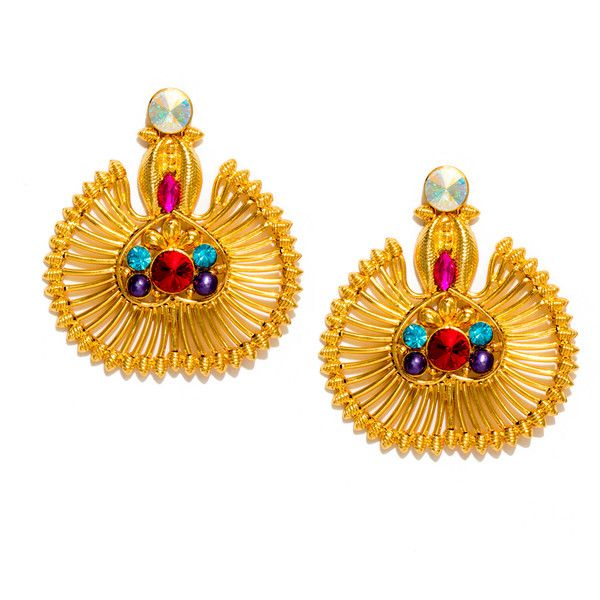 $184 HAUTEEDIT.COM - 18 Kt Gold Plated Brass Swarovski Earrings -PeacockDesign. Valliyan by Nitya Arora. An exquisite range of sculptural, one of a kind jewellery handcrafted in India with semi-precious stones and Swarovski crystals to give pieces life and texture.