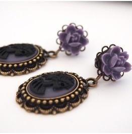 6g 4mm Purple Black Skull Lady Dangle Plugs