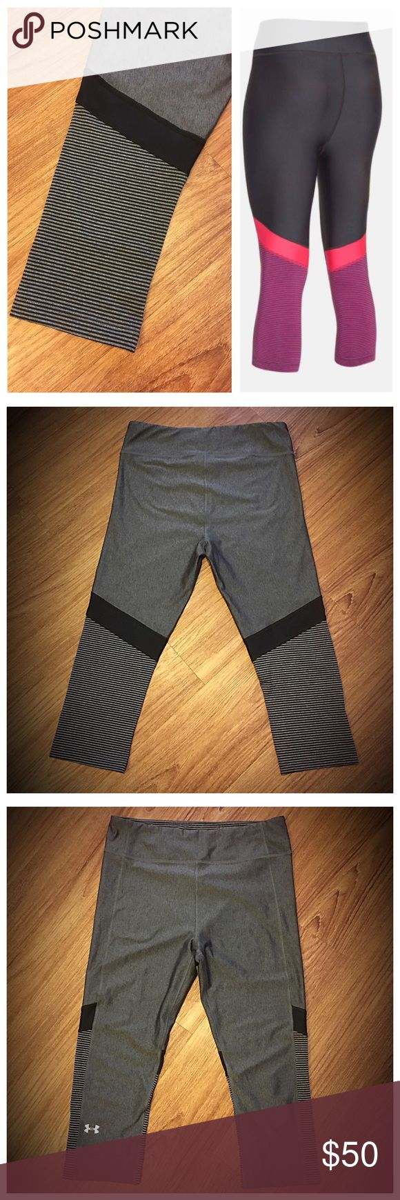 """Under Armour gray/Black stripe Compression Capri 📦Same day shipping (as long as P.O. is open for business). ❤ Measurements are approximate. Descriptions are accurate to the best of my knowledge.  Ultra tight second skin compression fit. Gray with black stripped back panel on legs. Light weight with signature moisture wicking 4-way stretch fabric. Anti-microbial technology to keep you fresh.  Flat measurements: 13.75"""" across waist, 18.5"""" inseam, 10"""" rise from top of crotch seam. Smoke/pet…"""