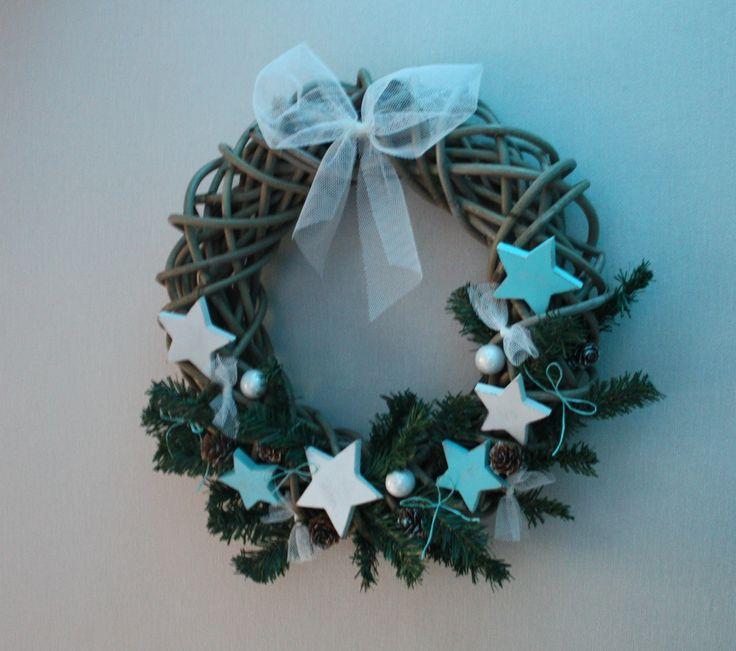 couronne de noël ou de l'avent avec des étoiles blanche et bleu turquoise : Accessoires de maison par mylittledecor