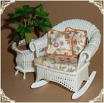 Miniature Wicker Furniture by The Petticoat Porch, Handcrafted artisan dollhouse miniature wicker furniture