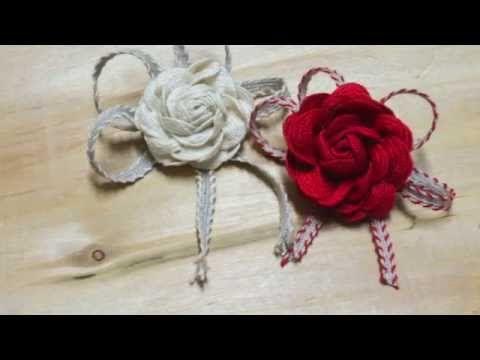 Tutorial - Rosa con passamaneria i nastri di mirta - YouTube
