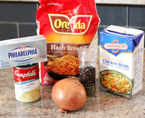 Simple Crockpot Potato Soup  {INGREDIENTS} 1 bag frozen hash browns 2 (14oz) cans chicken broth 1 can cream of chicken soup 1/2c chopped onion 1/3tsp black pepper. 8oz block of cream cheese  {DIRECTIONS} Combine frozen hash browns, chicken broth, cream of chicken soup, chopped onion, black pepper.  Cook in crock pot on low for 5 hours. Stir in cream cheese, cook 30 minutes, stir occasionally. Top with chopped green onion, shredded cheese and bacon.