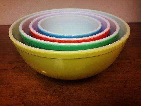 Vintage PYREX Nesting Bowls 1940's Primary by vintagesouthwest