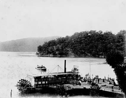 """General Gordon"" paddle steamer (built Terrigal), Long Island Wharf and Dangar Island in the Hawkesbury River 1889"