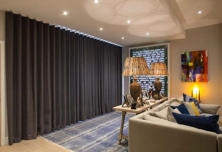 Our made to measure curtains can be fitted on wave tracks. A specially designed glider cord in the track limits the extension of the curtain fabric to create a smooth wave effect. Very elegant. Suitable for bay windows.
