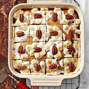Shortcut this bar recipe by using canned mashed sweet potatoes. Pecans add a crunchy topper for delightful texture contrast in this dessert recipe./
