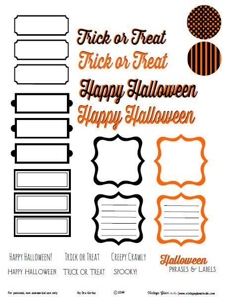 Halloween Phrases and Labels   Free Printable from Vintage Glam Studio