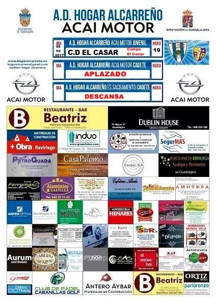Nueva jornada de futbol provincial juvenil C.D El Casar A.d. Hogar Alcarreño . *Cadete A.d. Hogar Alcarreño Acai Motor -APLAZADO *Cadete A.d. Hogar Alcarreño E.S El Sacramento. DESCANSA Mas informacion en; www.hogaralcarreño.es www.hogaralcarreño.es www.rayoarriacense.com www.acaimotor.com . www.aluminioscastilla.es. www.alcasum.es .www.dublinguada.es .www.grupoinduo.com . www.axa.es . www.casapalomo.es . www.eesselsacramento.es . www.caobar.com . www.porcelanicosbrihuega.es…