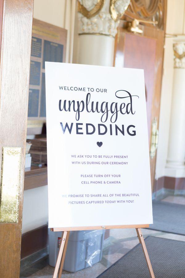 Unplugged wedding signage. True Grace Photography - KnotsVilla